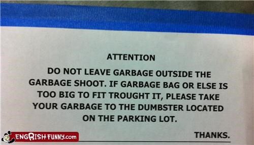 garbage,sign,warning