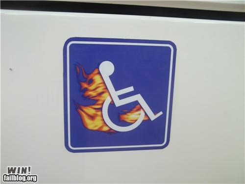 fire flames hacked handicapped sticker - 4714526976