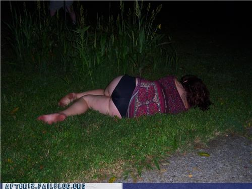 booty,grass,no shoes,passed out