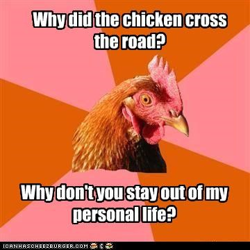 animemes,anti joke chicken,anti-jokes,chicken,personal life,road