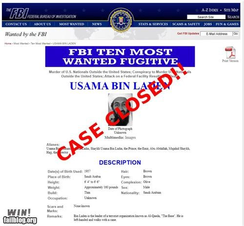 cased closed,FBI,oh the United States of America,osama