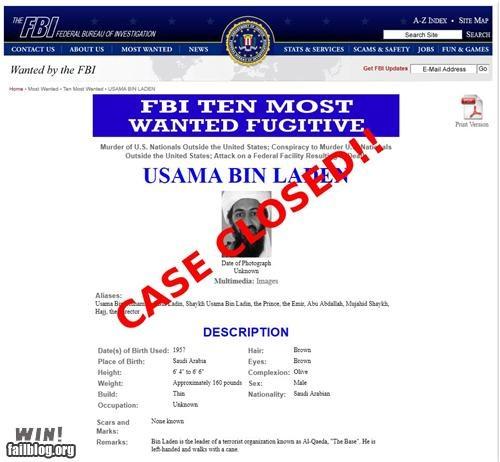 cased closed FBI oh the United States of America osama