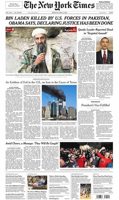 front page,new york times,Osama Bin Laden