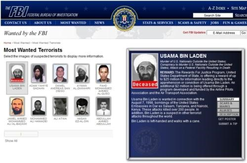 Most Wanted Terrorists Osama Bin Laden status update - 4716844032