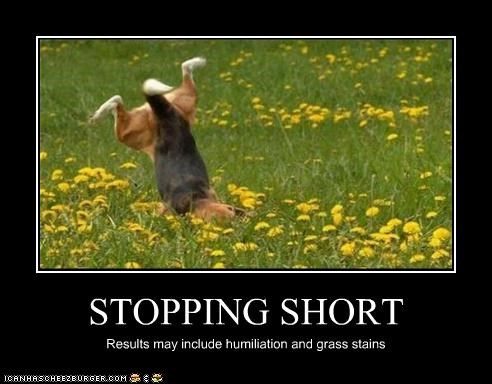 STOPPING SHORT Results may include humiliation and grass stains