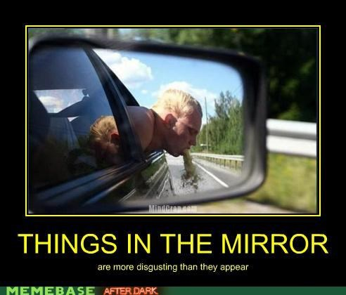 car,mirror,vomit
