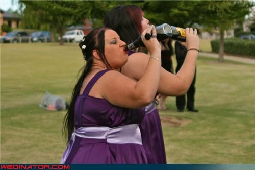 alcohol,boozing bride,funny wedding photos