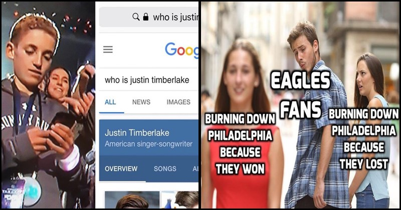 Funny memes about the super bowl, tide, laundry, super bowl boy, justin timberlake, football, tom brady, the eagles, the patriots, tide pods, prince, stranger things.