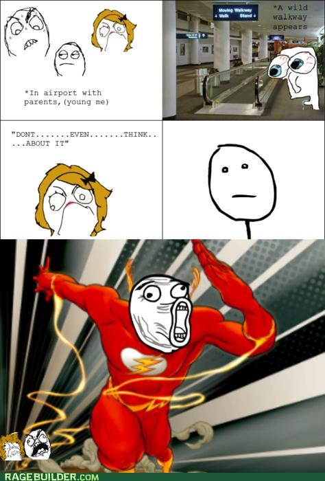 airport,mom,Rage Comics,the flash,walkway