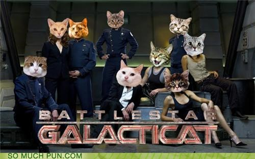 Battlestar Galactica cat Cats literalism photoshop poster series show suffix syfy television TV - 4718104832