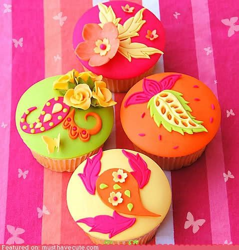 bright,colorful,cupcakes,epicute,flowers,fondant,paisley