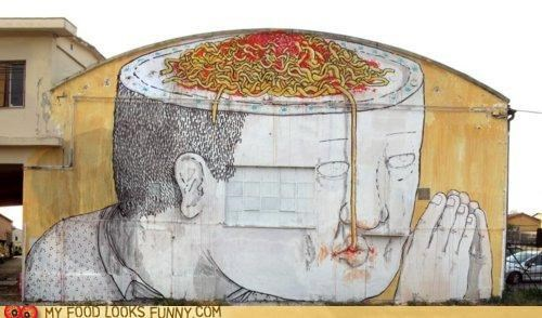 brain,graffiti,mural,paint,pasta,pray