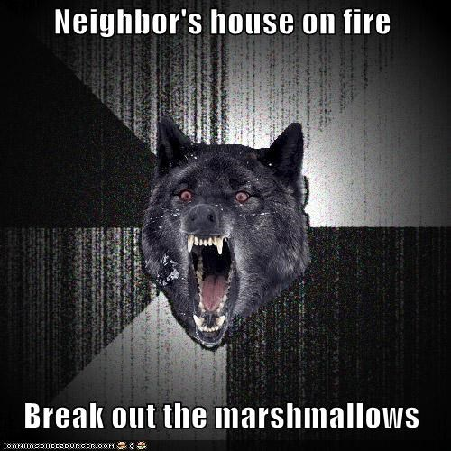 houses,i mean fire,i mean marshmallow sock,Insanity Wolf,marshmallows suck
