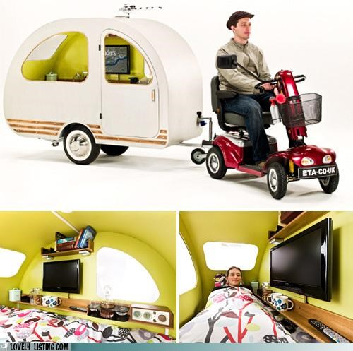 bed compact scooter tiny trailers TV