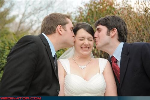 bride,brothers,funny wedding photos,KISS