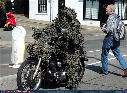 camo,costume,leaves,motorcycle