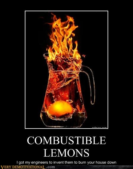 COMBUSTIBLE LEMONS I got my engineers to invent them to burn your house down