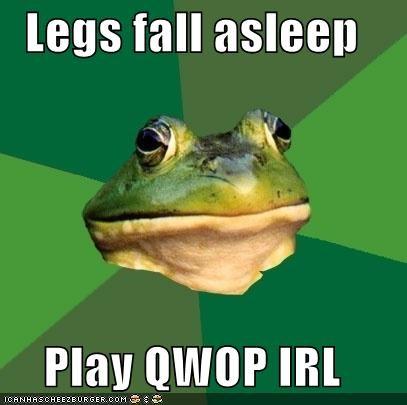 asleep,foul bachelor frog,IRL,legs,practice,QWOP