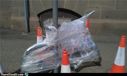 bicycle bike lock safety saran wrap security - 4721442816