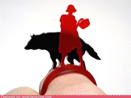 accessories acrylic black Jewelry laser cut Little Red Riding Hood red wolf