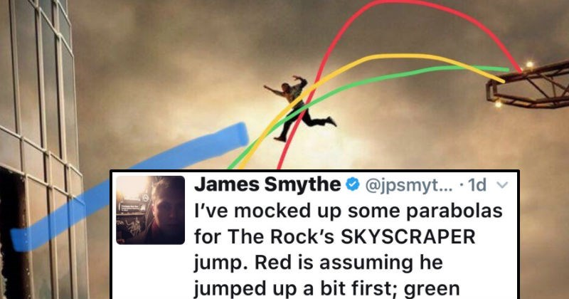 Guy starts ridiculous Twitter feud over the lack of logic in Dwayne the Rock Johnson's new movie, Skyscraper.