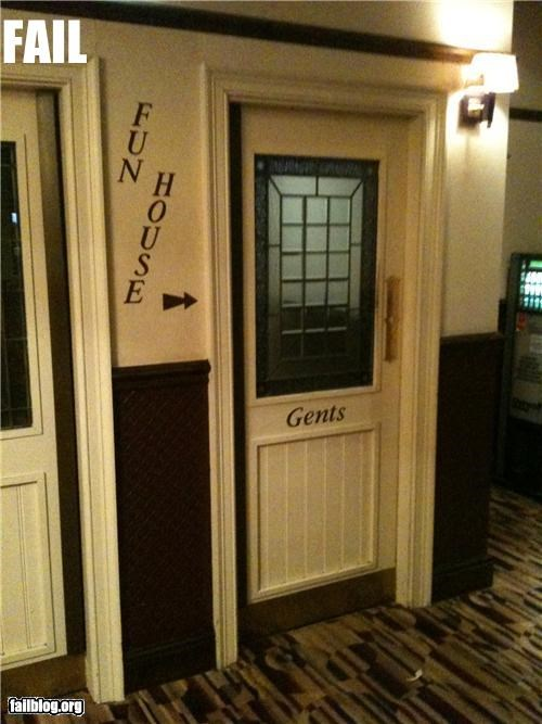 bathrooms,down stairs mix up,failboat,Fun House,gender bender,g rated