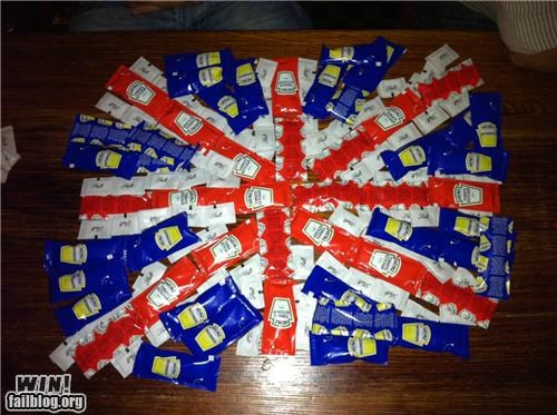 art,clever,condiments,drinking,flag,ketchup