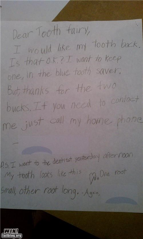 childhood cute kids notes tooth fairy