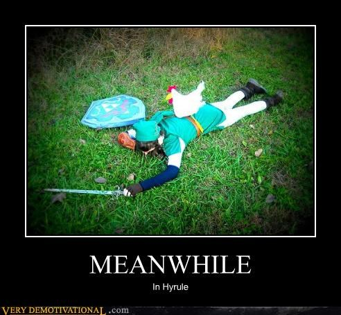 chicken,hilarious,hyrule,link,Meanwhile
