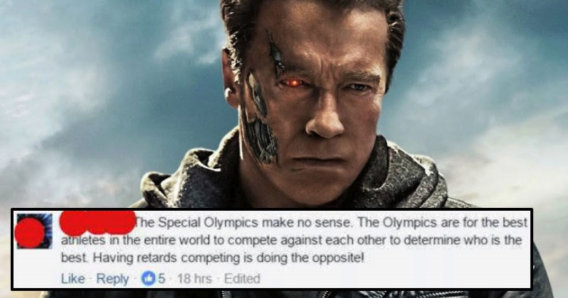Arnold Schwarzenegger destroys a guy trying to troll the Special Olympics in the comments section.