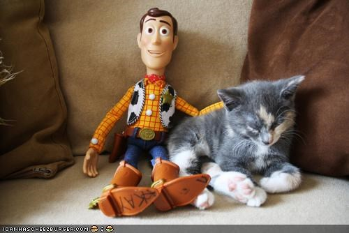 cyoot kitteh of teh day,dolls,friends,sleeping,toy story,toys,woody