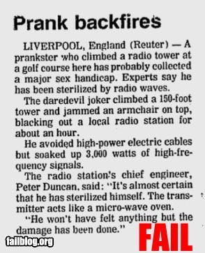 bad idea failboat g rated microwaves newspaper poor planning prank radio towers reporductive region - 4723641088