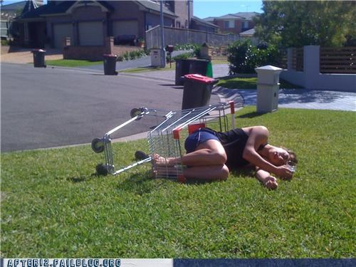 passed out,race,shopping cart,wtf