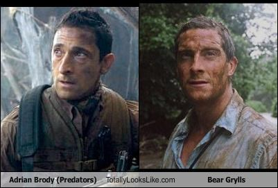 actors,adrian brody,bear grylls,pee,predators