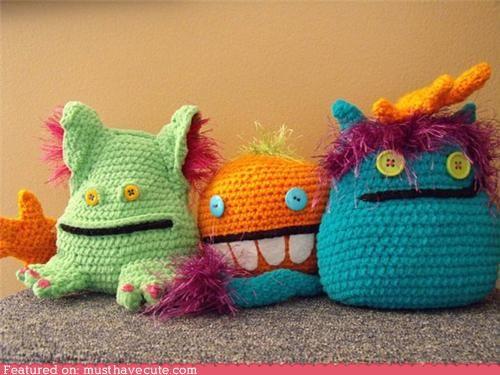 buttons crochet cute eyes handmade monster - 4725395200
