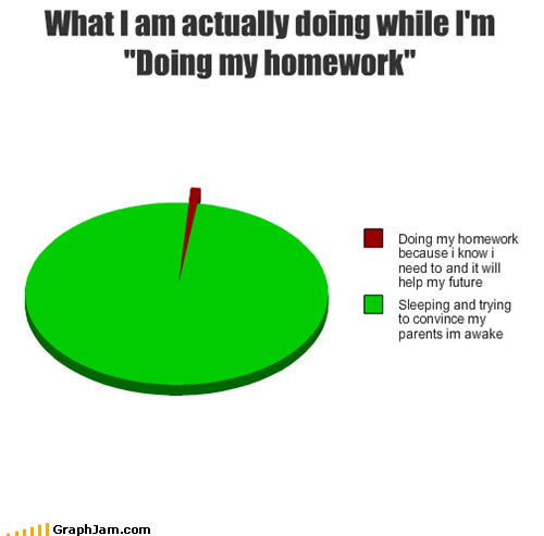 homework,napping,parents,Pie Chart,sleeping,studying