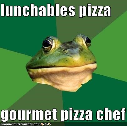chef,foul bachelor frog,lunchables,pizza