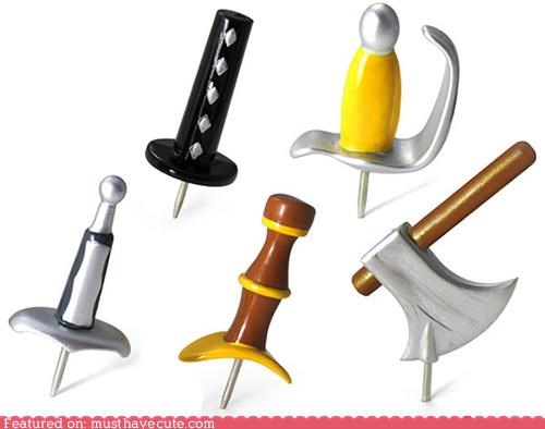 axe handles pins pushpins swords thumbtacks weapons