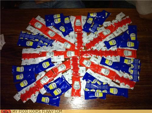 england flag ketchup mustard salt UK union jack - 4725608704