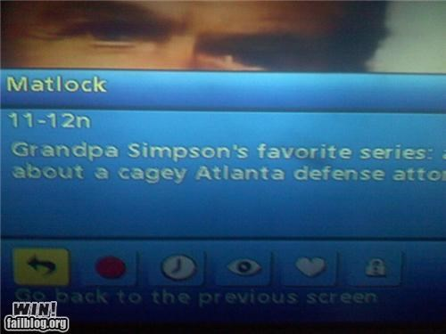 description,Matlock,telvision,the simpsons,tv guide