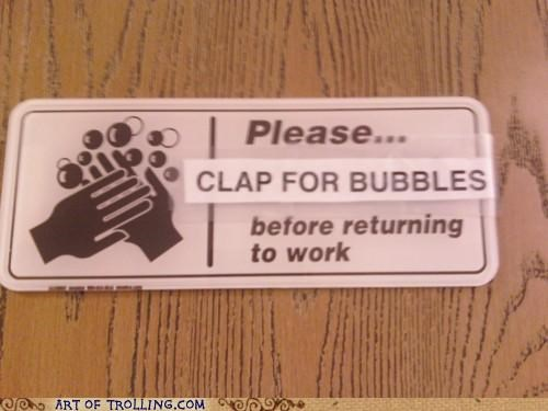bubbles clap on wash hands