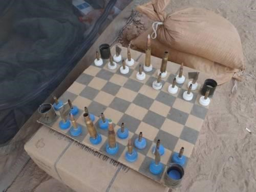 DIY Homemade Chess Set Improvised Entertainment Support Our Troops - 4726018560