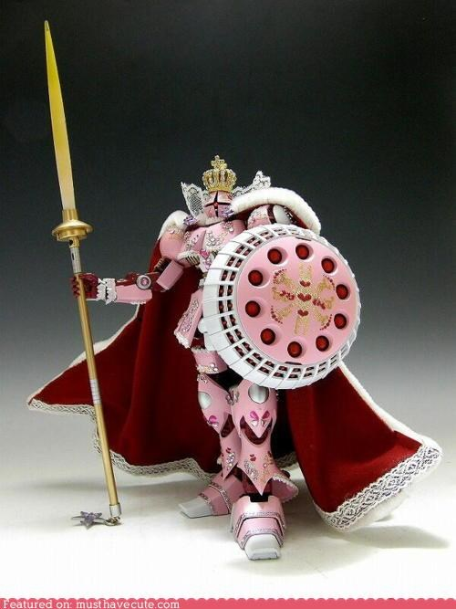 Bling,cape,knight,no idea,pink,robot,shield,weapons