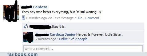 Funny facebook exchange about how time heals all wounds but not herpes