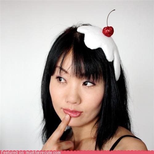 accessory,cherry,hat,ice cream,melting,whipped cream