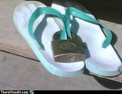 flip flops locked up shoes stupid wtf - 4728726528
