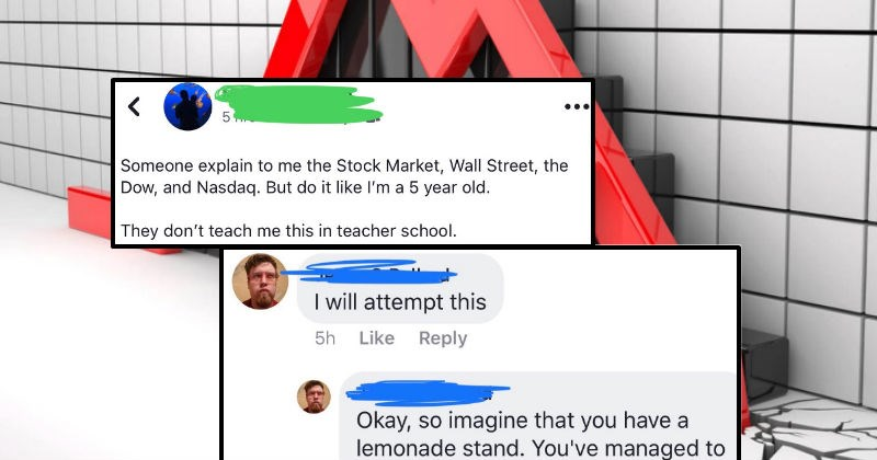 Guy explains a stock market crash like he's talking to a five-year-old in lengthy Facebook thread.