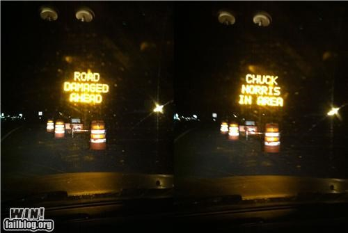 chuck norris clever hacked road signs
