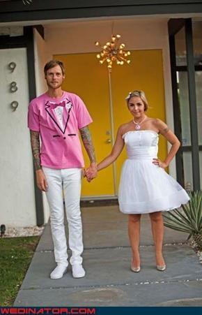 funny wedding photos,groom,pink,tuxedo