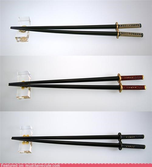 chopsticks eating samurai swords - 4730460672